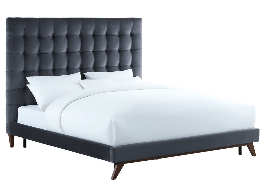 TOV Furniture - Eden Grey Velvet Bed in Queen Size