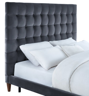 Thumbnail of TOV Furniture - Eden Grey Velvet Bed in Queen Size