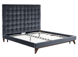 Thumbnail of TOV Furniture - Eden Grey Velvet Bed in Queen Size