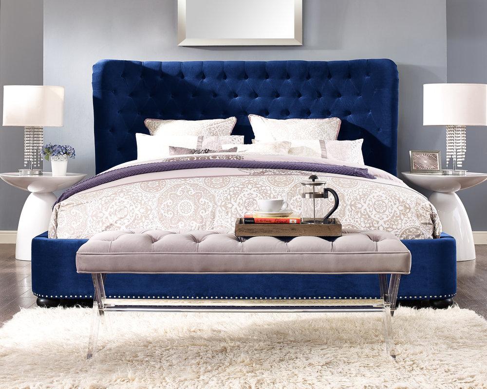 TOV Furniture - Finley Blue Velvet Bed