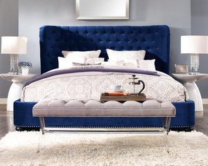 Thumbnail of TOV Furniture - Finley Blue Velvet Bed