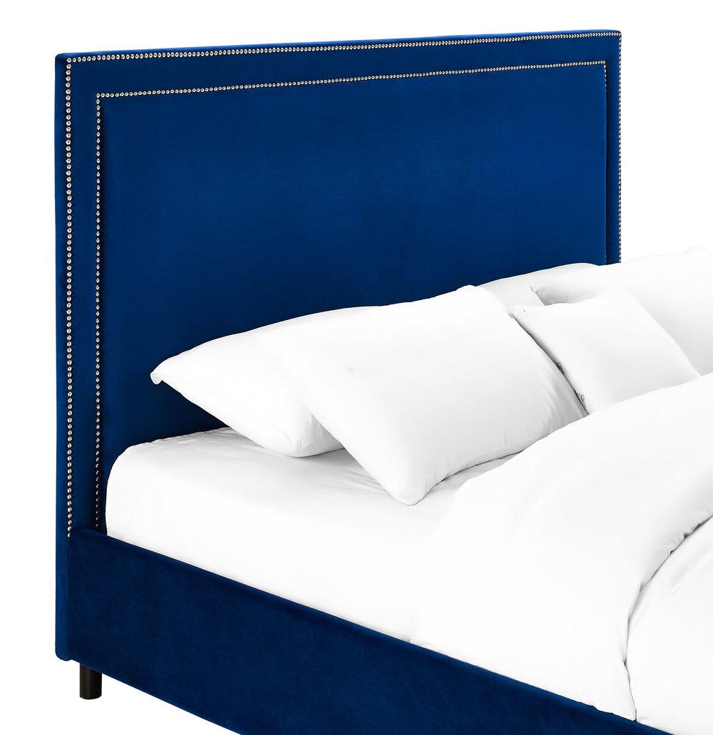 TOV Furniture - Reed Navy Velvet Bed in King Size
