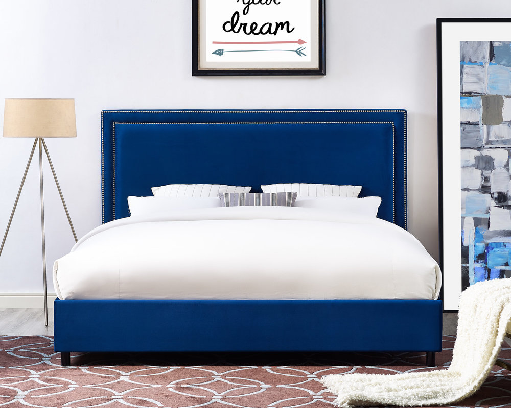 TOV Furniture - Reed Navy Velvet Bed in King Size