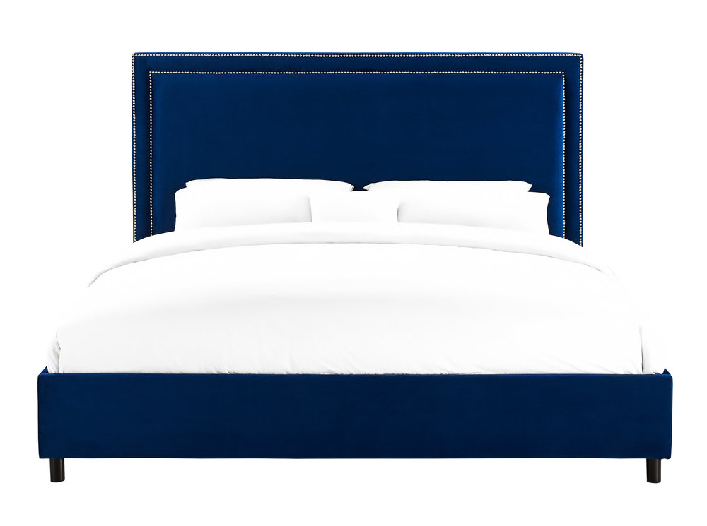 TOV Furniture - Reed Navy Velvet Bed in Queen Size