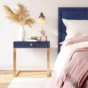 Thumbnail of TOV Furniture - Reed Navy Velvet Bed in Queen Size