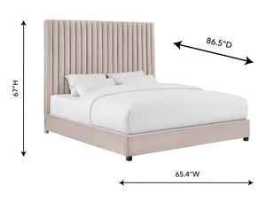 Thumbnail of TOV Furniture - Arabelle Blush Velvet Bed