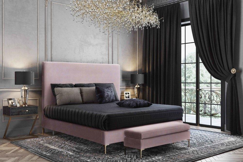 TOV Furniture - Delilah Blush Textured Velvet Bed