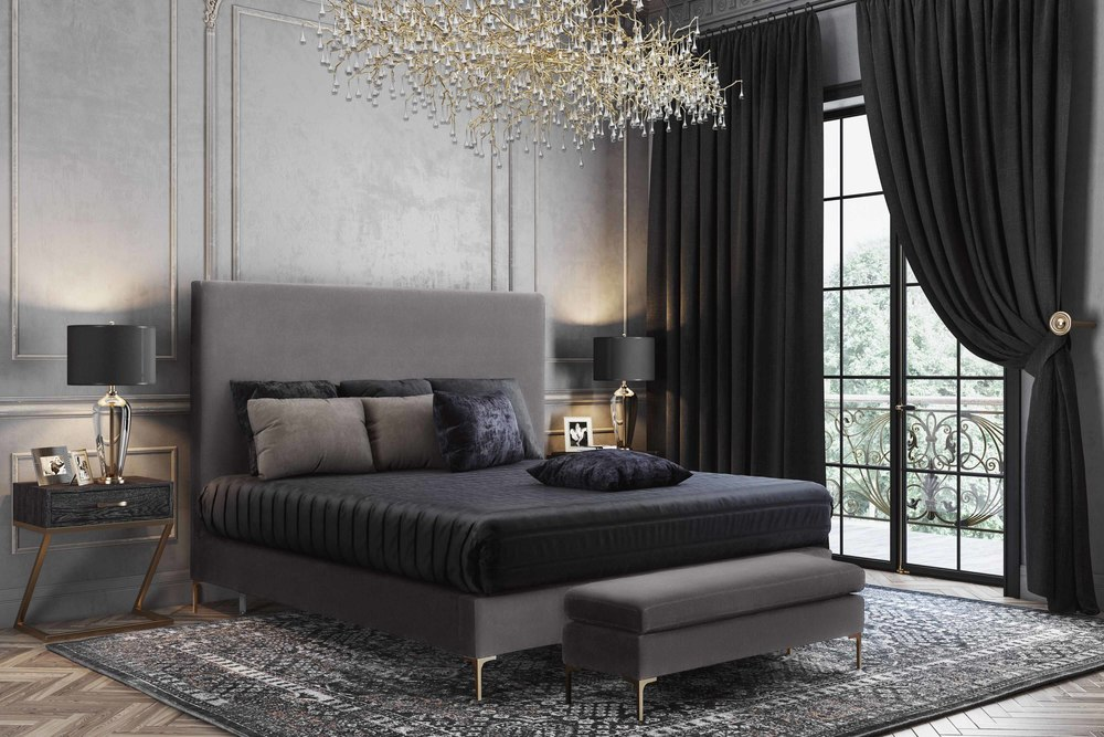 TOV Furniture - Delilah Grey Velvet Bed in Queen