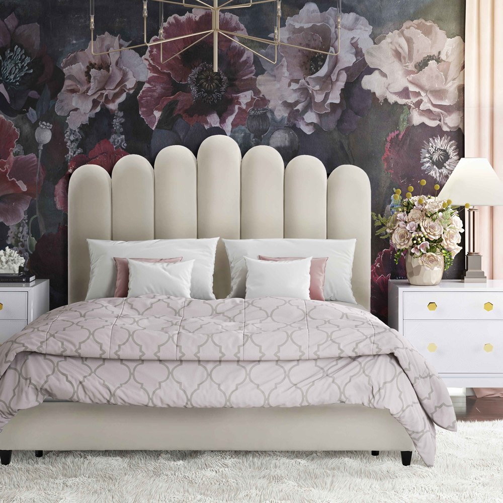 TOV Furniture - Celine Cream Velvet Bed