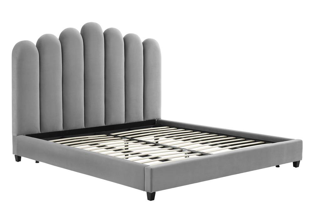 TOV Furniture - Celine Grey Velvet Bed