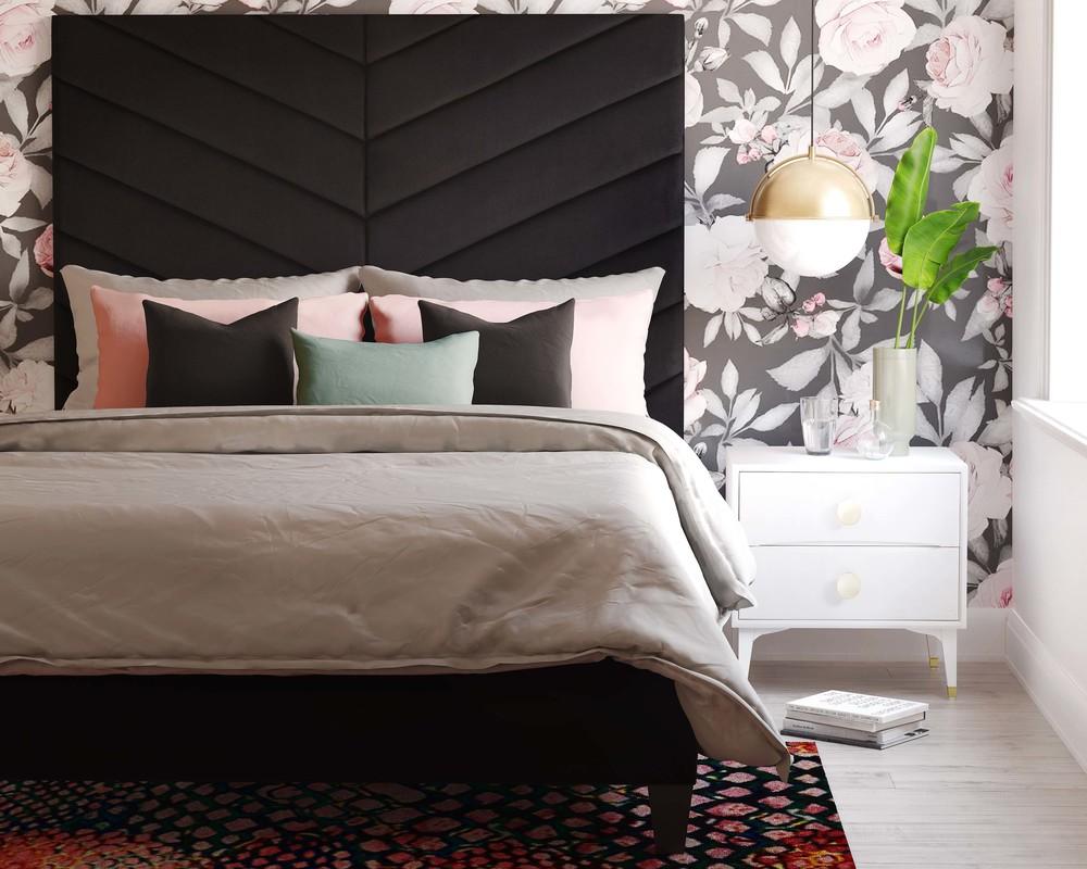 TOV Furniture - Javan Black Velvet Bed