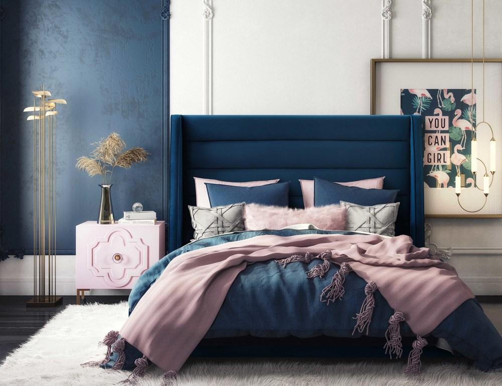 TOV Furniture - Koah Navy Velvet Bed