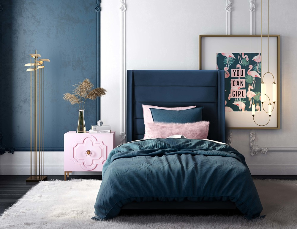 TOV Furniture - Koah Navy Velvet Bed