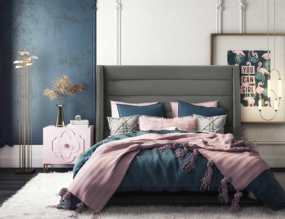 TOV Furniture - Koah Grey Velvet Bed