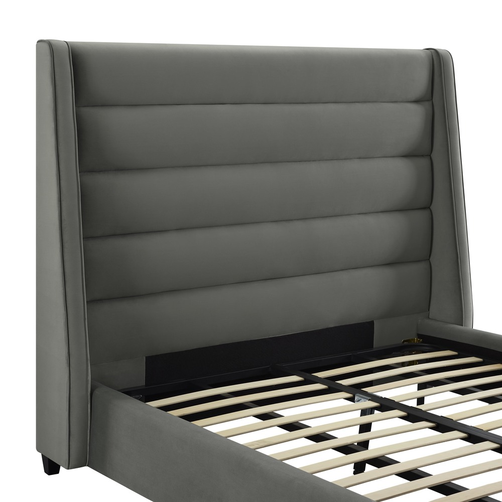 TOV Furniture - Koah Grey Velvet Bed