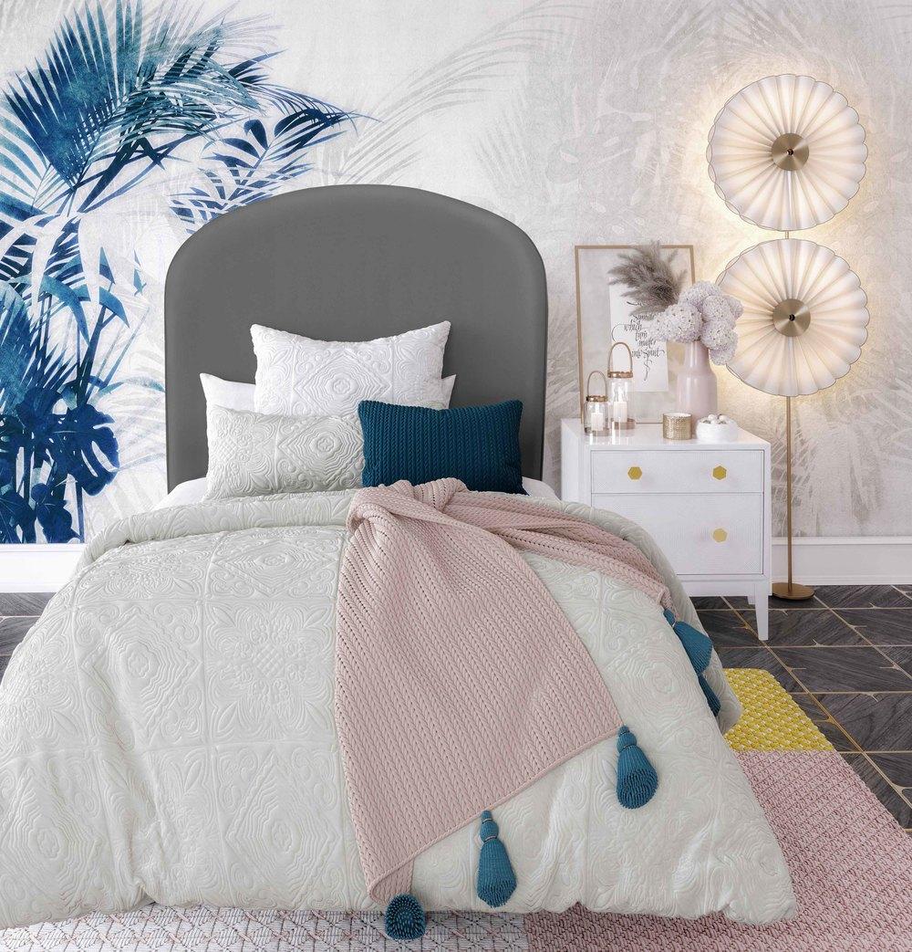 TOV Furniture - Vivi Grey Velvet Bed