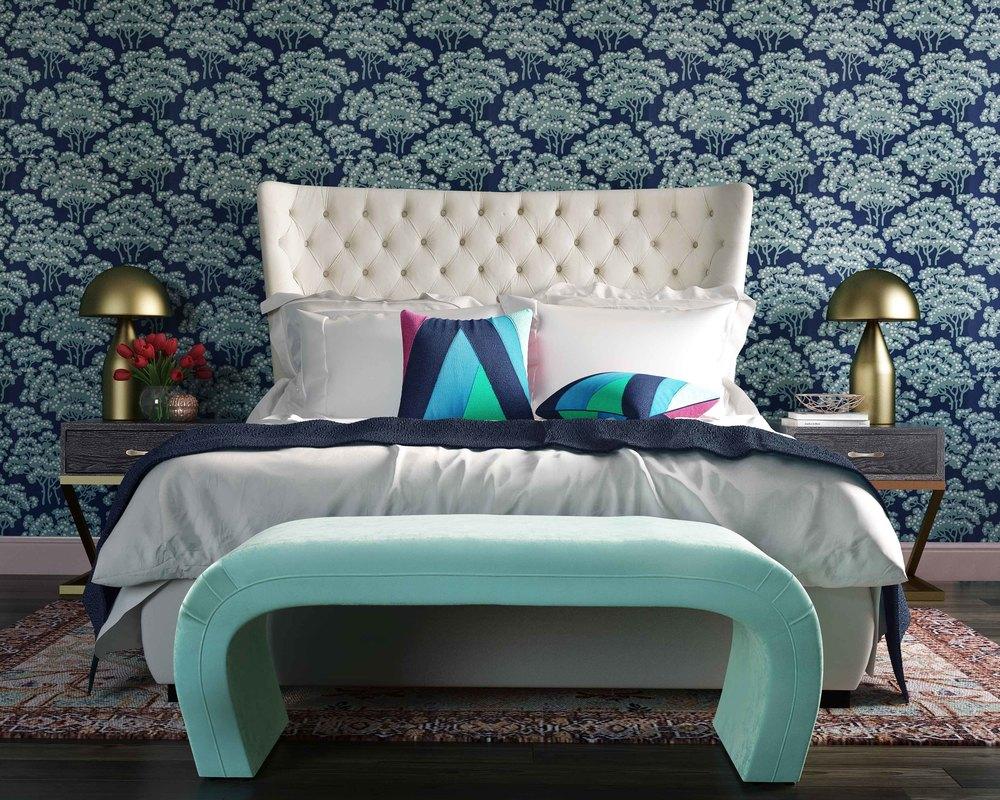 TOV Furniture - Sassy Cream Velvet Queen Bed