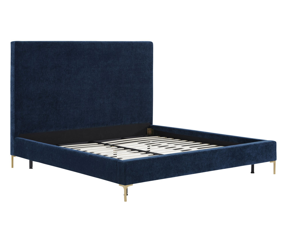 TOV Furniture - Delilah Navy Textured Velvet Bed