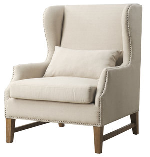Thumbnail of TOV Furniture - Devon Beige Linen Wing Chair