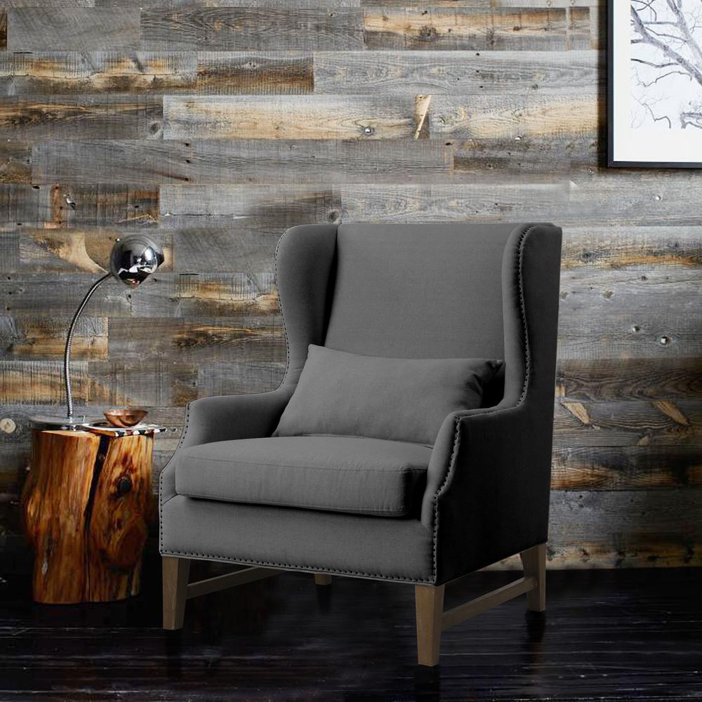 TOV Furniture - Devon Grey Linen Wing Chair