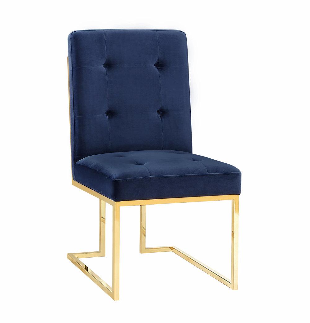 TOV Furniture - Akiko Navy Velvet Chair