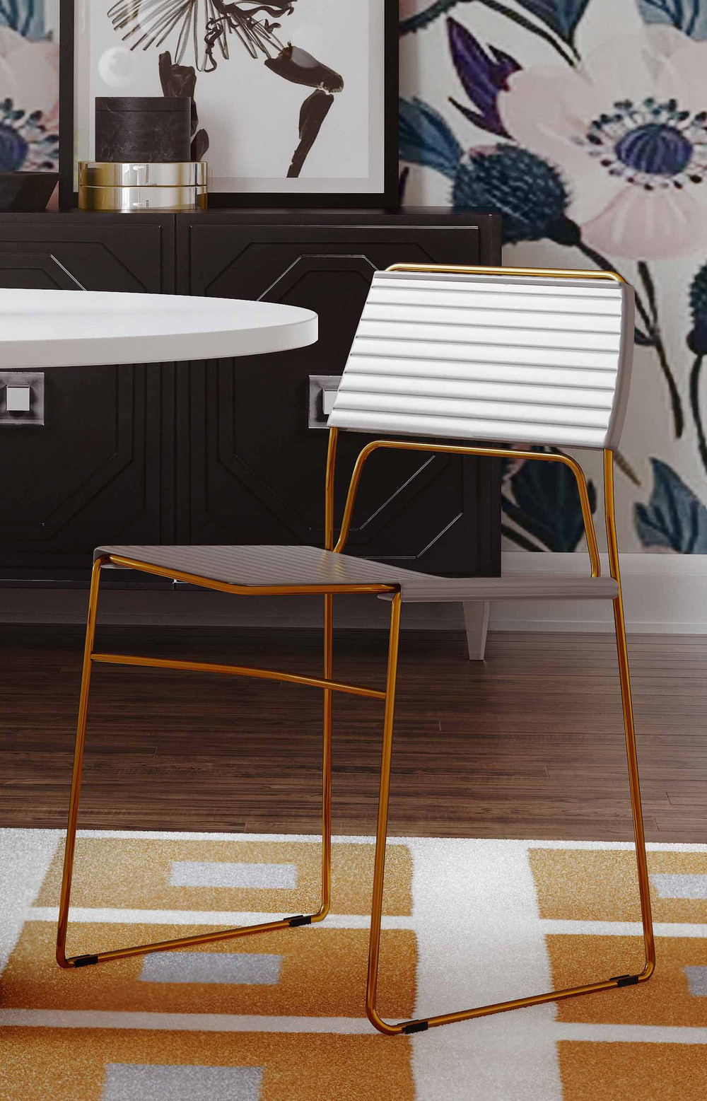 TOV Furniture - Domani Grey Vegan Leather Chair