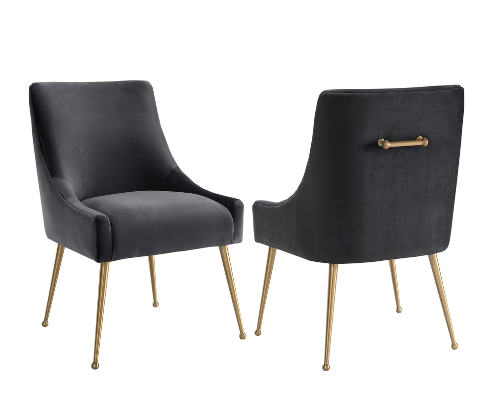TOV Furniture - Beatrix Grey Velvet Side Chair