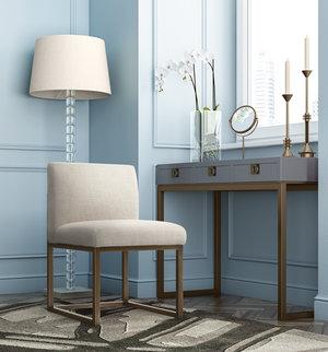 Thumbnail of TOV Furniture - Haute Beige Linen Chair in Brass
