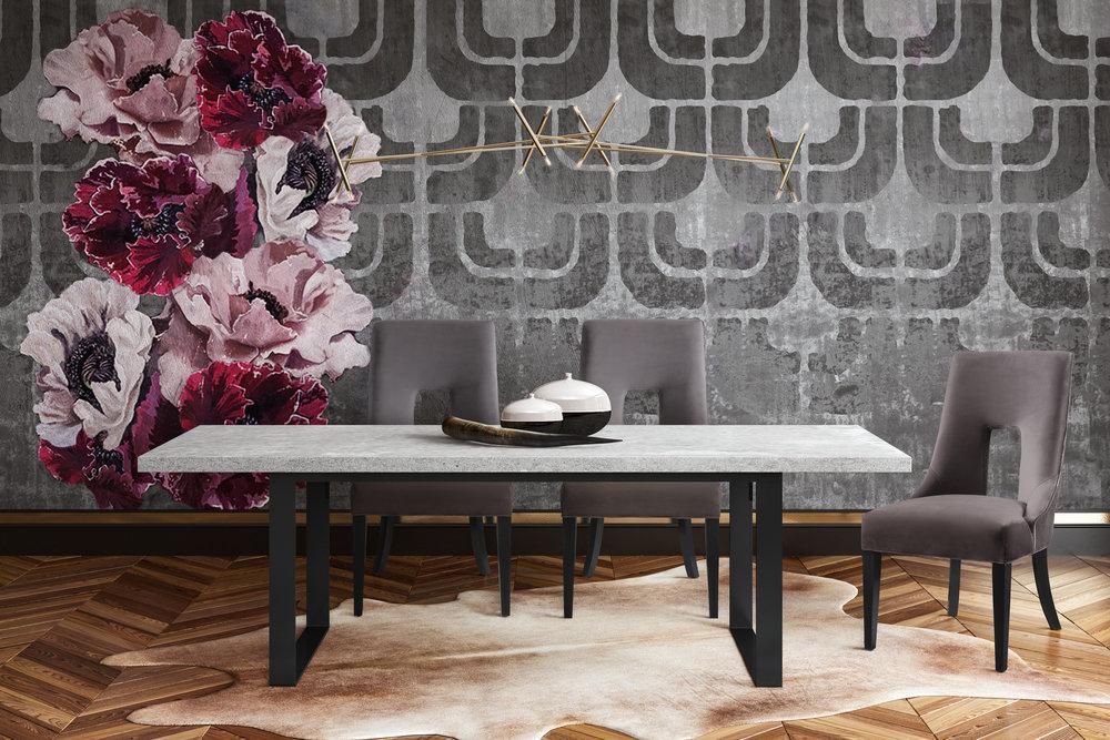 TOV Furniture - Lipstick Grey Velvet Dining Chair