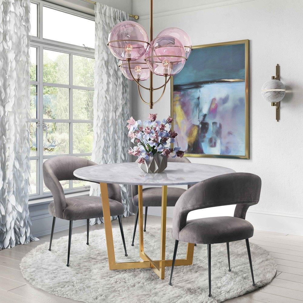 TOV Furniture - Rocco Grey Velvet Dining Chair
