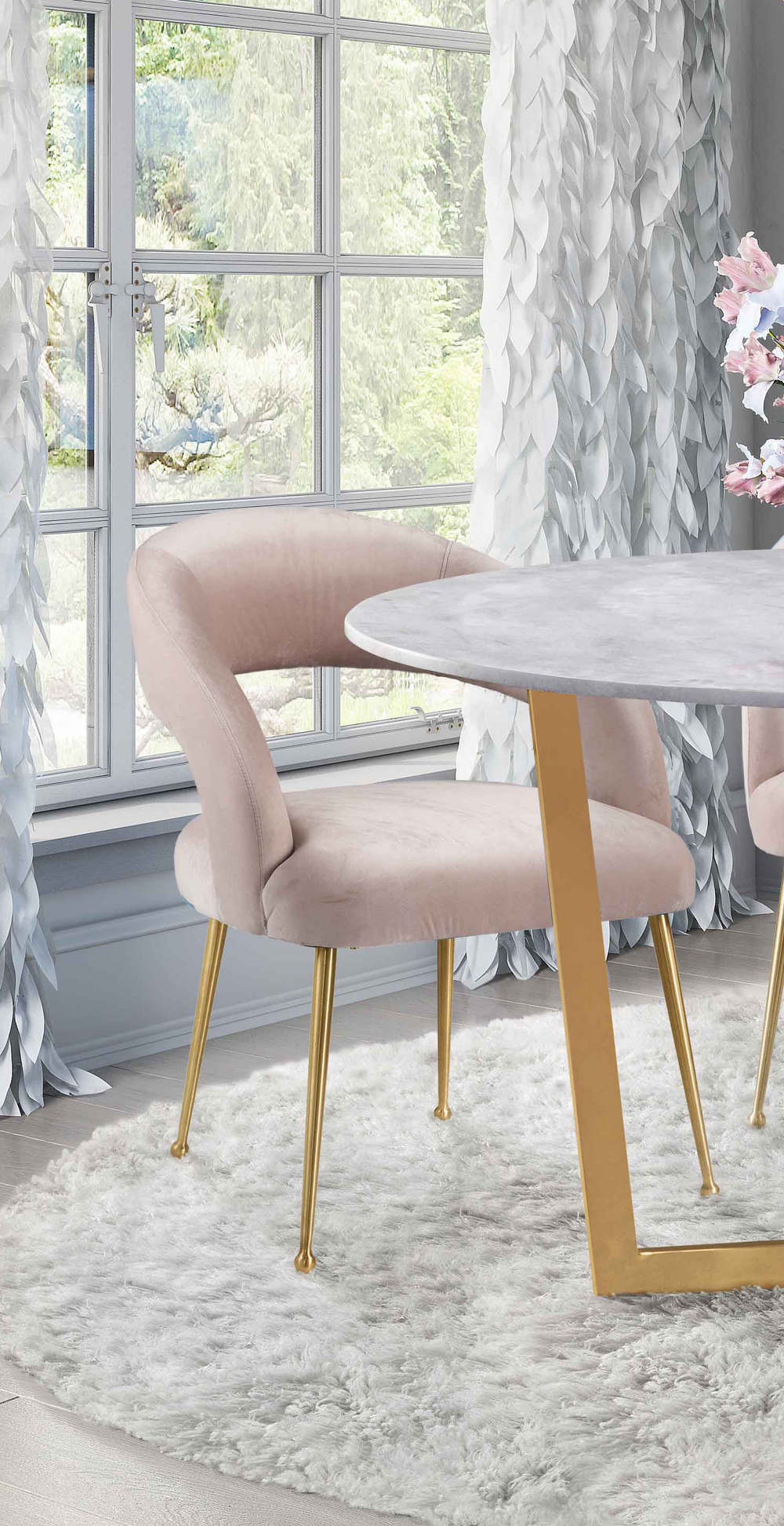 TOV Furniture - Rocco Blush Velvet Dining Chair