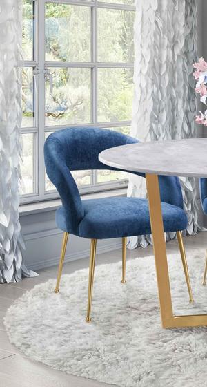 Thumbnail of TOV Furniture - Rocco Slub Navy Dining Chair