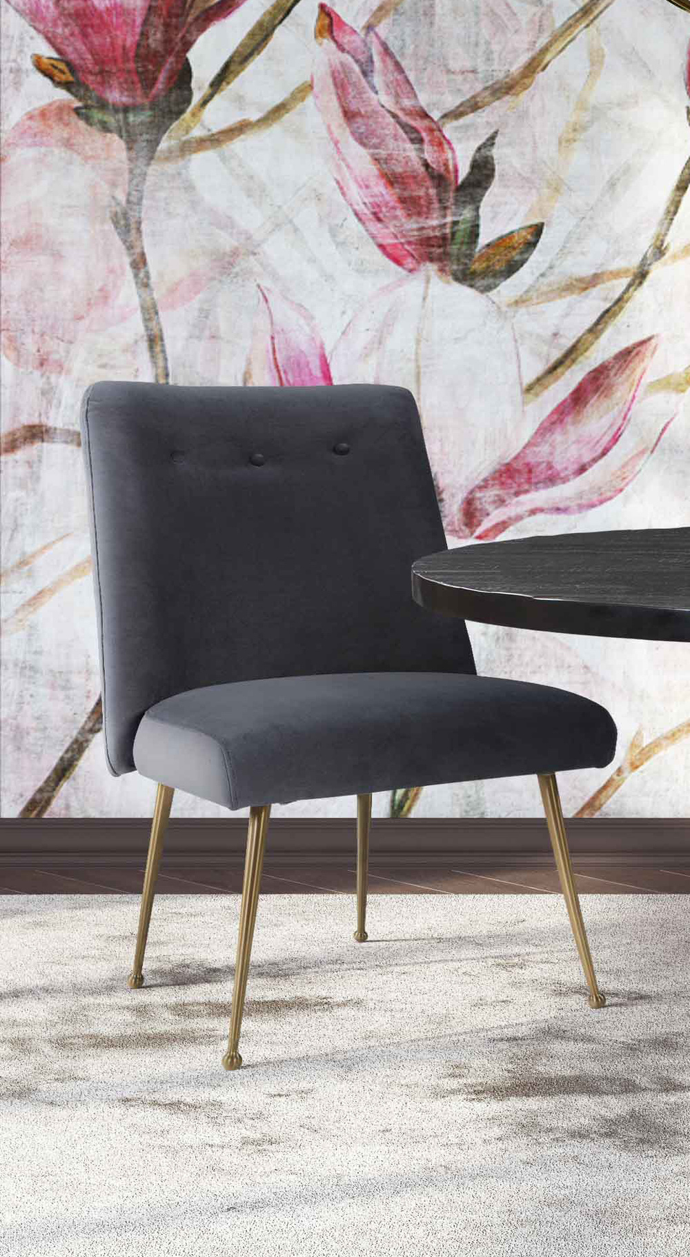 TOV Furniture - Batik Grey Velvet Dining Chair