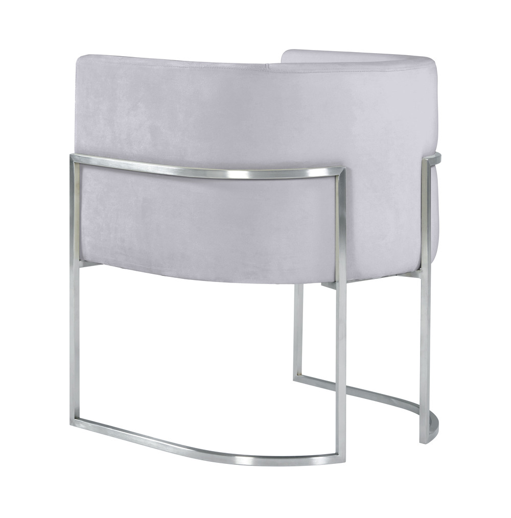 TOV Furniture - Giselle Grey Velvet Dining Chair with Silver Leg