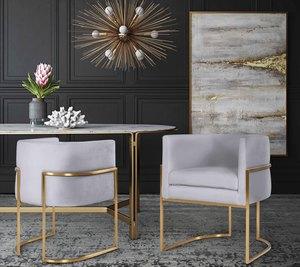 Thumbnail of TOV Furniture - Giselle Grey Velvet Dining Chair with Gold Leg