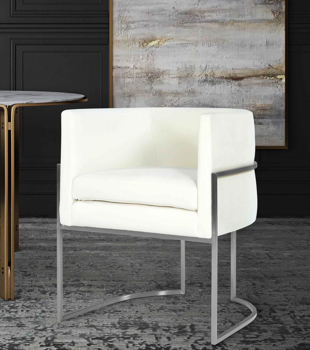 TOV Furniture - Giselle Cream Velvet Dining Chair Silver Leg