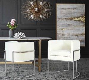 Thumbnail of TOV Furniture - Giselle Cream Velvet Dining Chair Silver Leg