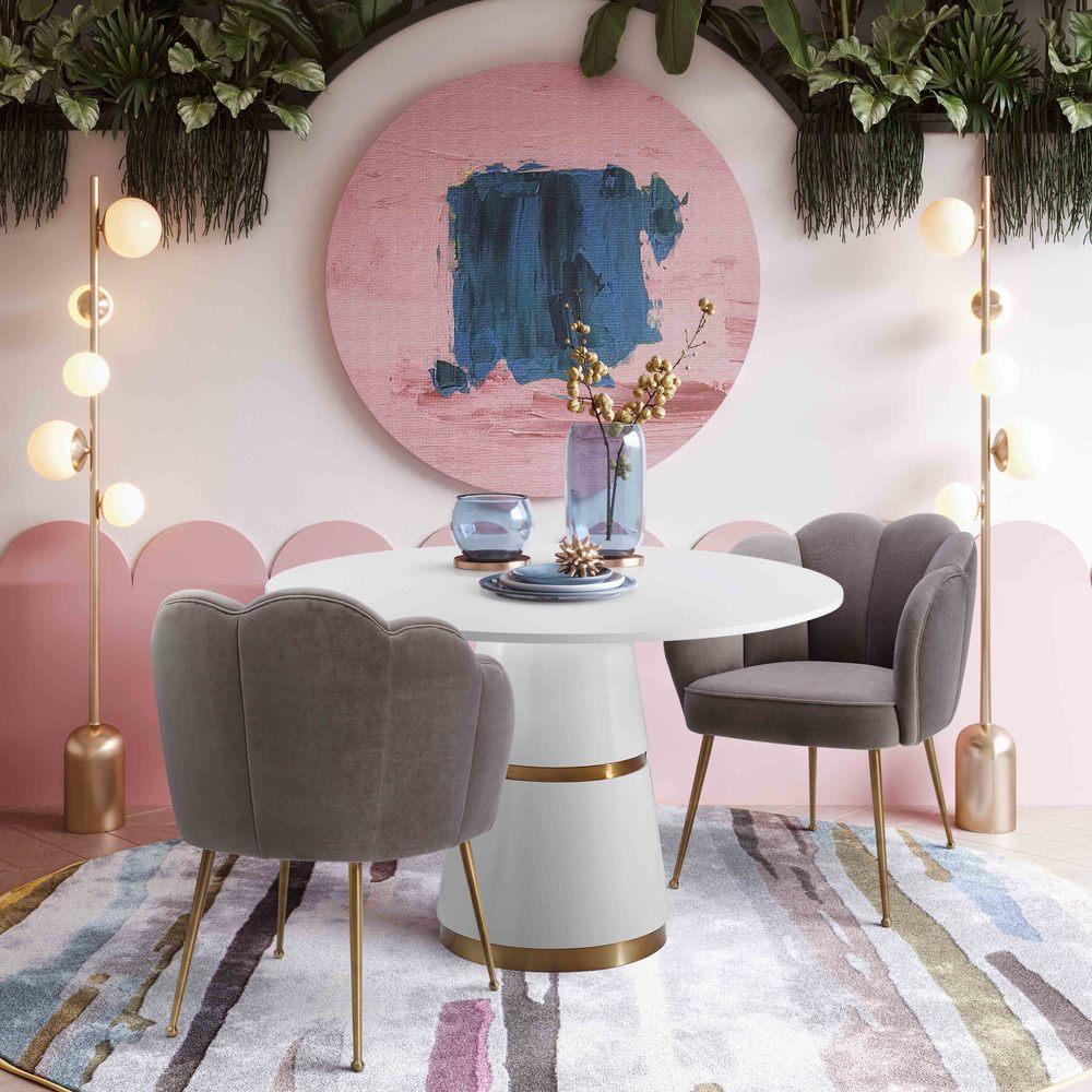 TOV Furniture - Peony Grey Velvet Dining Chair