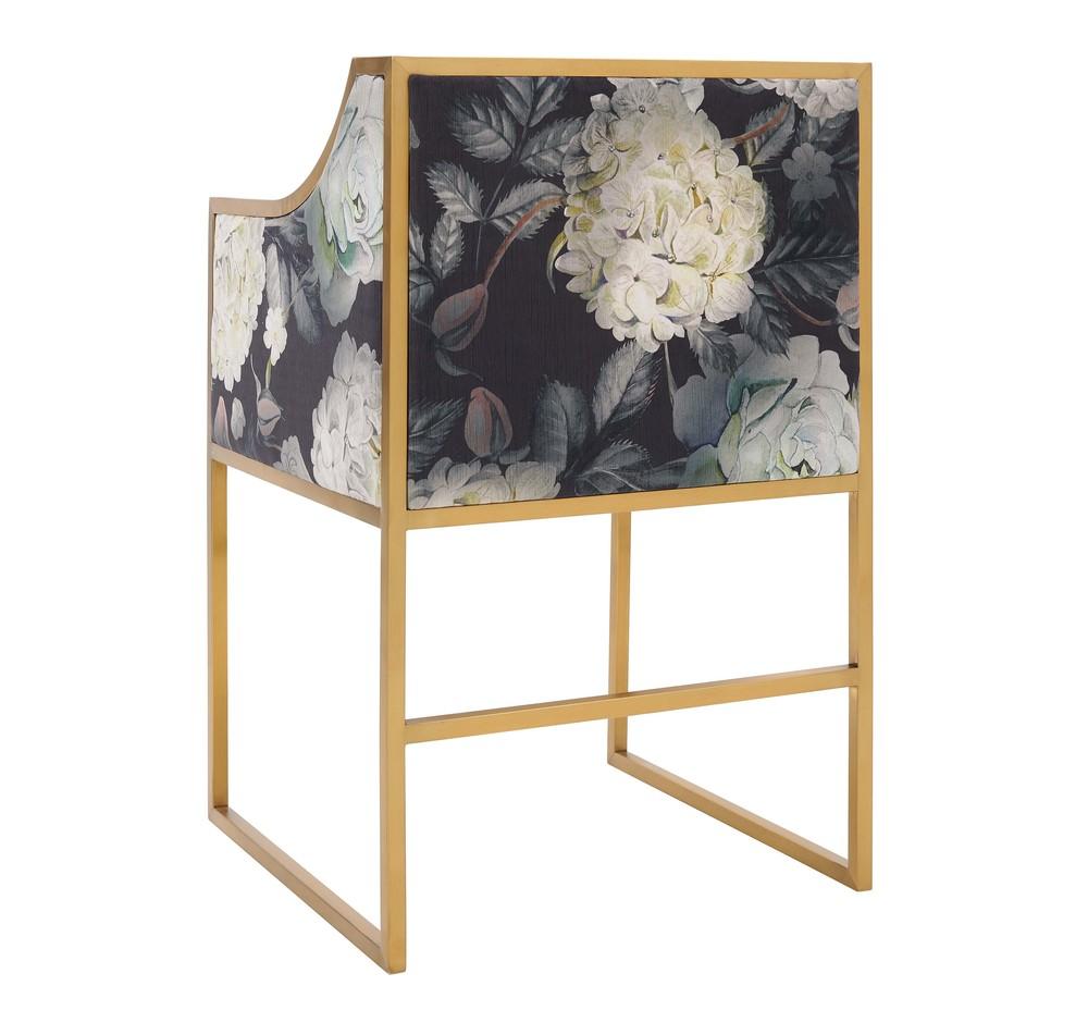 TOV Furniture - Atara Floral Velvet Gold Chair