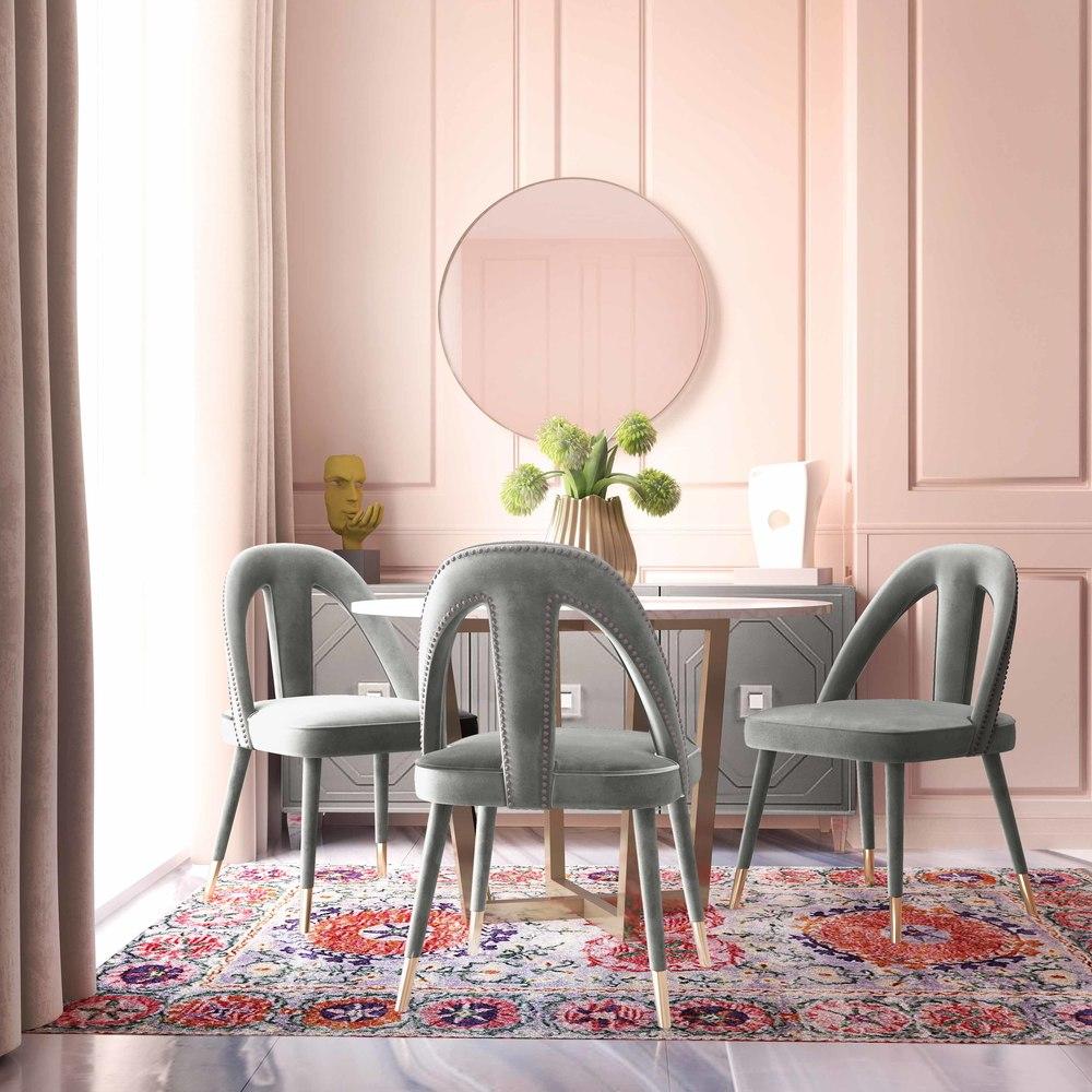 TOV Furniture - Petra Light Grey Velvet Side Chair