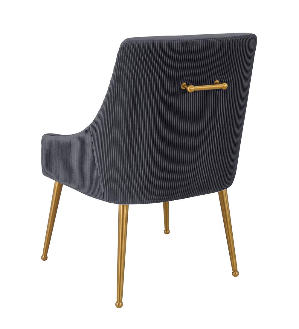 TOV Furniture - Beatrix Pleated Grey Velvet Side Chair