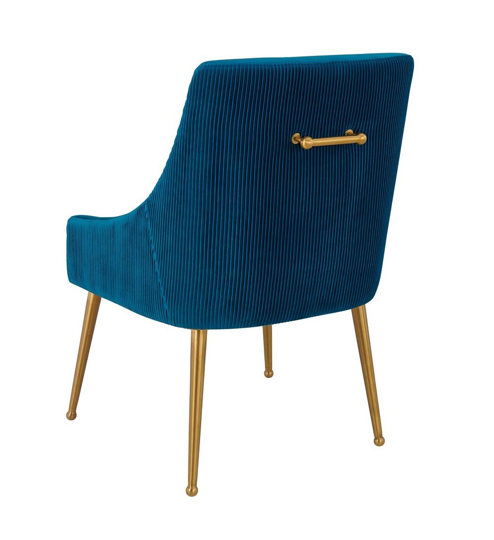 TOV Furniture - Beatrix Pleated Navy Velvet Side Chair