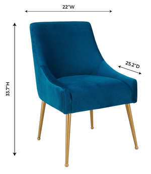 Thumbnail of TOV Furniture - Beatrix Pleated Navy Velvet Side Chair