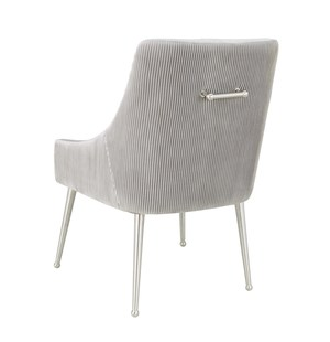 Thumbnail of TOV Furniture - Beatrix Pleated Light Grey Velvet Side Chair - Silver Legs