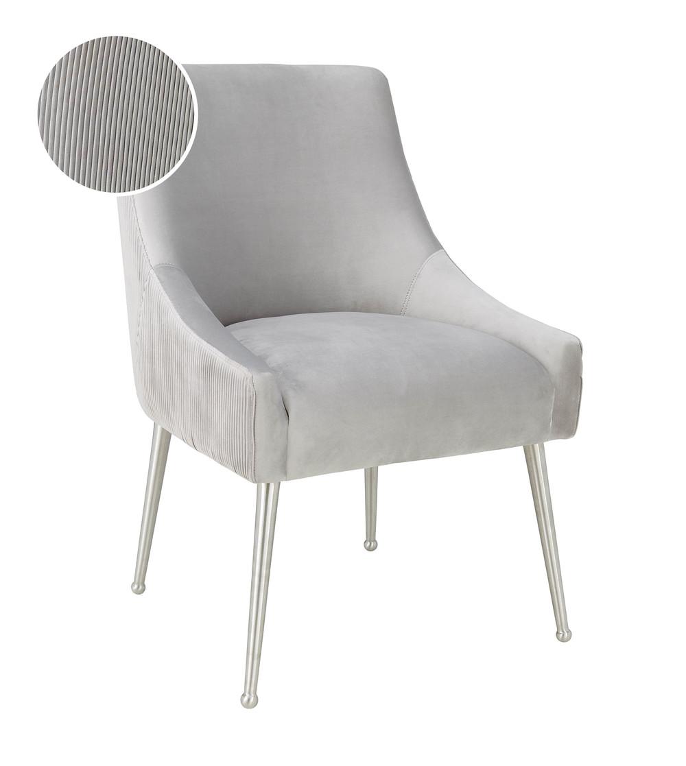 TOV Furniture - Beatrix Pleated Light Grey Velvet Side Chair - Silver Legs