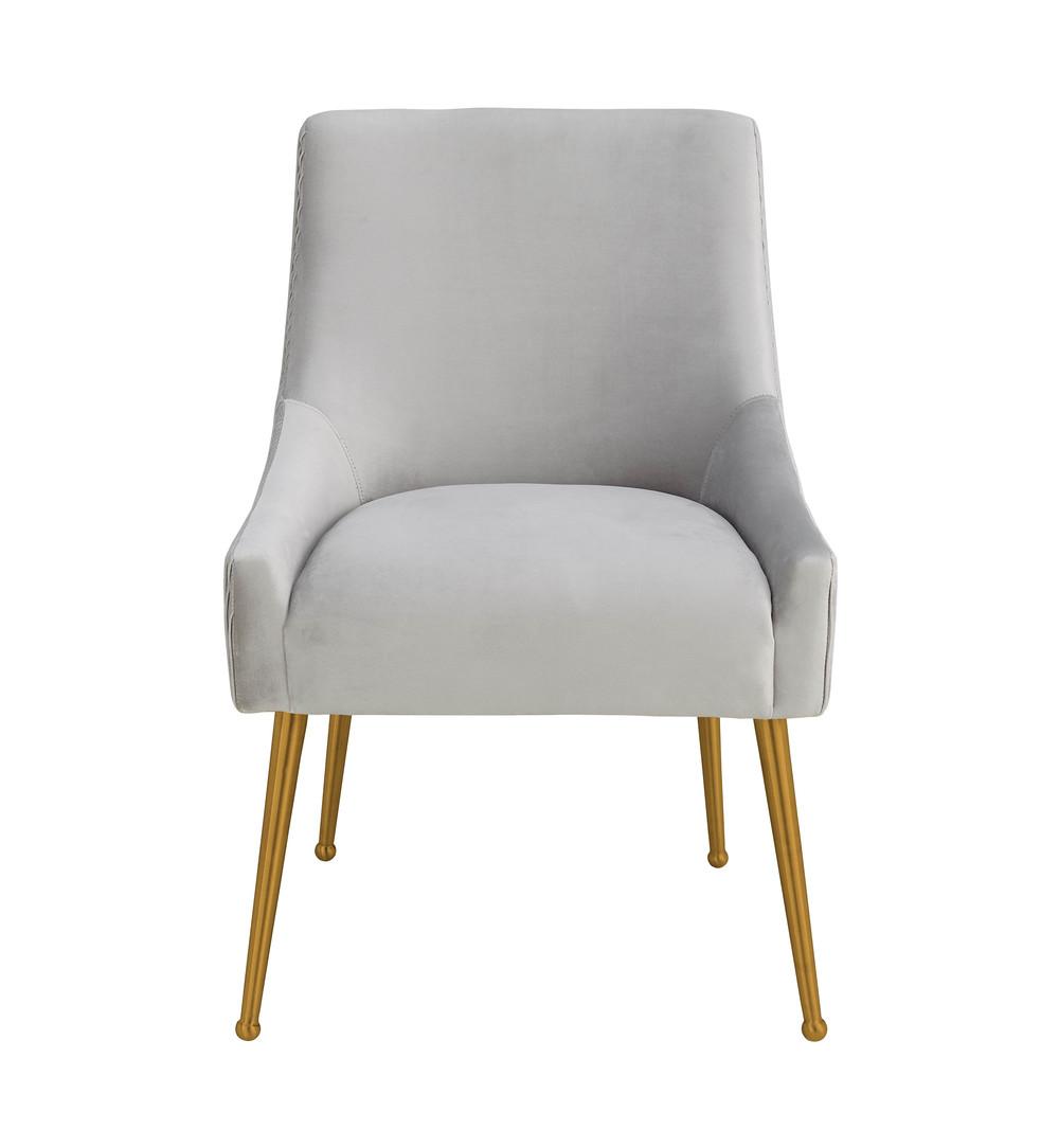 TOV Furniture - Beatrix Pleated Light Grey Velvet Side Chair