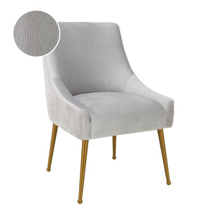 Thumbnail of TOV Furniture - Beatrix Pleated Light Grey Velvet Side Chair