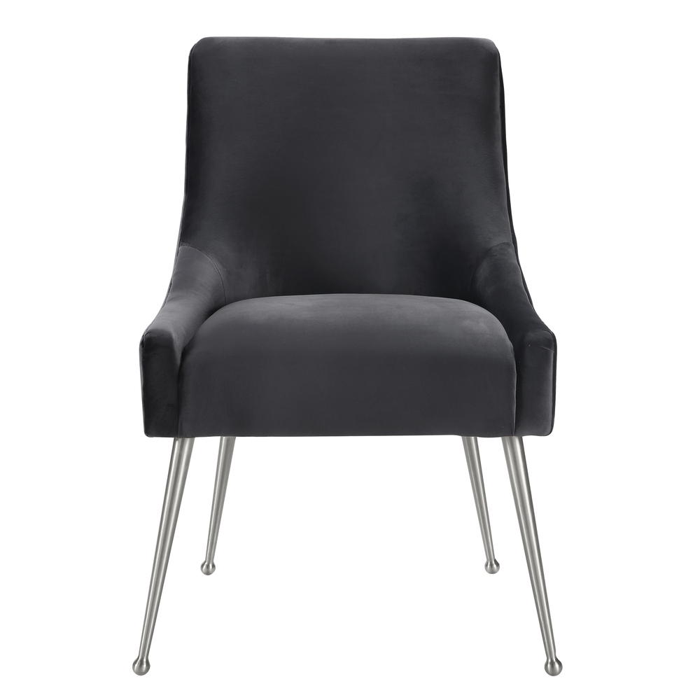 TOV Furniture - Beatrix Grey Velvet Side Chair with Silver Leg