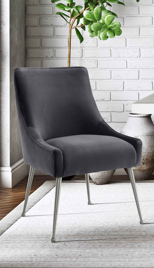 Thumbnail of TOV Furniture - Beatrix Grey Velvet Side Chair with Silver Leg