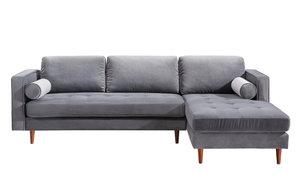 Thumbnail of TOV Furniture - Como Grey Velvet Sectional Right Arm Facing